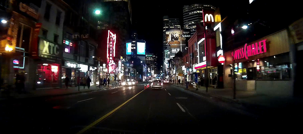 Screenshot of the footage taken driving in downtown Toronto