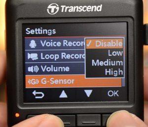 Showing the G-Sensor Menu Setting on the Transcend DrivePro 200