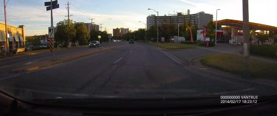 Screenshot of Vantrue Dash Cam Driving at Dusk through Mississauga