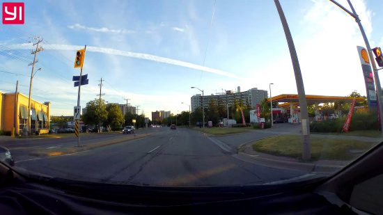 Screenshot of Yi Dash Cam Driving at Dusk through Mississauga